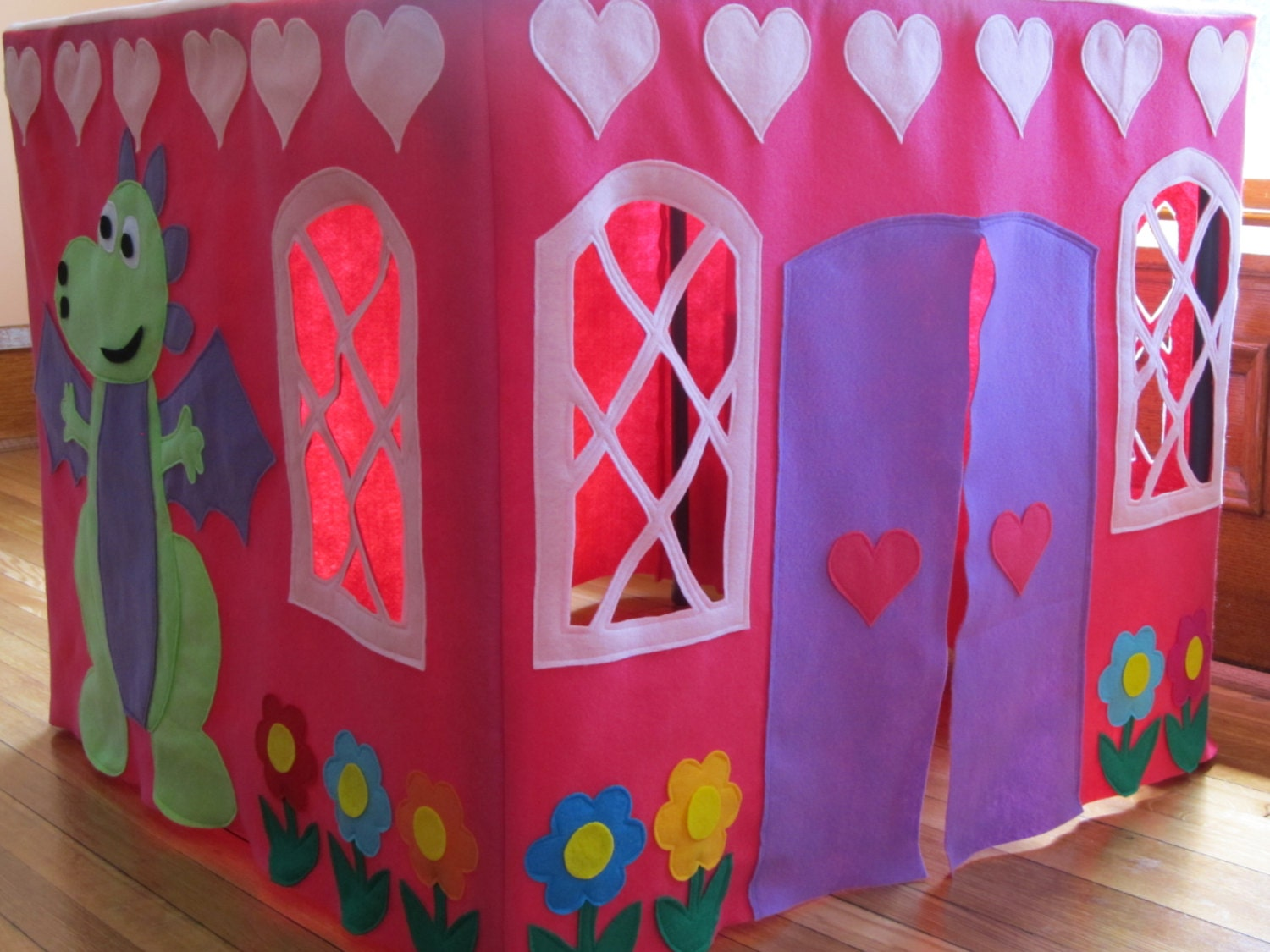 ?zoom & Card Table Playhouse Tent Pink Princess Castle Tent Felt
