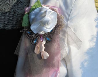 Large Butterfly and White Satin Rose Flower Brooch Corsage
