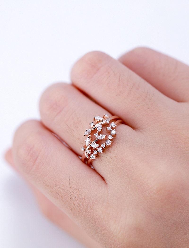 Rose gold engagement ring set Curved wedding women Diamond