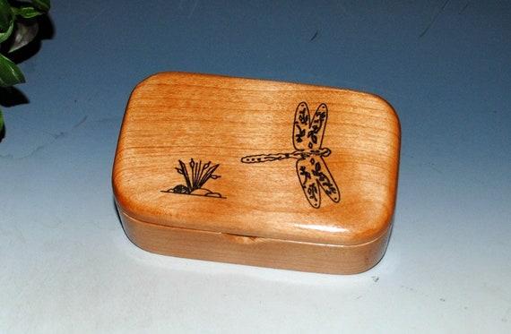 Engraved Dragonfly Alder Handmade Wooden Trinket Box - Desk Box Or Gift Box, Business Card Box , Keepsake Box - Small Wood Box, Treasure Box
