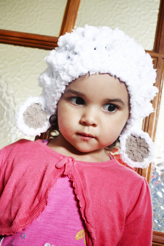 Erwachsenen häkeln Lamm Mütze weißes Lamm Schaf Tier Hut