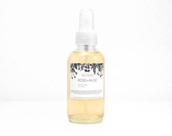 Facial Toner: ROSE + ALOE - rose facial mist, face toner spray, facial mist, traditional toner, rose water spray toner, rose facial mist