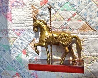 Brass Carousel Horse on Stand. Vintage Horse Figurine. Brass Decor.  - VD12