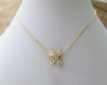 "Diamond 18K Yellow Gold Necklace Charm Pendant Chain X ""Kiss"" NOS Estate Fine Jewelry"