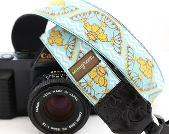 The Santa Fe Blue Camera Strap with Quick Release Buckles -- 1.5 inches wide -- Native Pattern Camera Strap