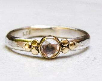 Women bridal set ring, stackable engagement ring, Solitaire Ring,handmade engagement ring, Anniversary rings,Hammered ring, Gold ring