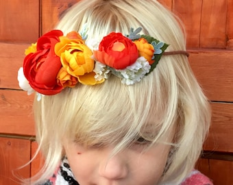 Peony Flower Crown, Kid Flower Crown, Fall Flower Crown, Flower Girl Crown, Flower Headband, Boho Crown, Boho Chic, Flower Halo