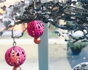 Earrings by Kora - Dangle - Pink Metal Filigree Beads and Pearls - Support Child Artists