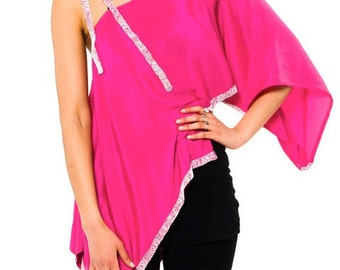 Asymmetrical Pink Boho Blouse Built out of Vintage 1920s Beaded Silk. Size S/M
