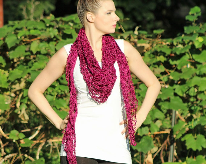 Purple and Black Shawl/ Scarf Handmade Christmas Gift Ready to ship