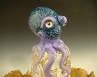 Glass Chillin Octopus on Ice Sculpture figurine Ocean Art ( Ready to Ship )