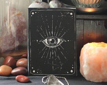 "Handmade Linoprint Postcard ""Third Eye"""