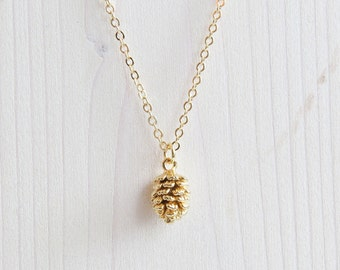 Gold Pine Cone Necklace | Pine cone Necklace | Pinecone Gold | Tiny Pinecone Necklace | Layering Necklace | Gift For Her | Dainty Necklace
