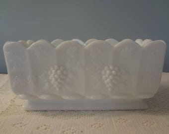 Westmoreland White Milk Glass Wide Rectangular Planter with scalloped top - Paneled Grape Pattern