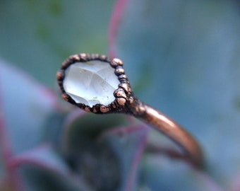 Herkimer   Herkimer Ring   Herkimer Diamond   Copper Ring   Electroformed Ring   Ready-To-Ship