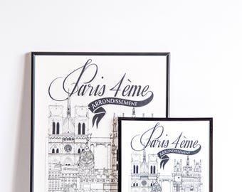 Paris IV / 32x45 cm / Docteur Paper / Travel With Me / Illustration /Voyage / Affiche /Ville / Décoration murale /Noir et Blanc/ Map /Design