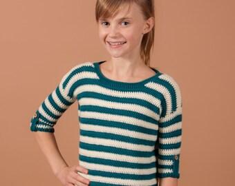 CROCHET sweater PATTERN - Boisfort top crochet pattern with stripes, light weight crochet top sweater