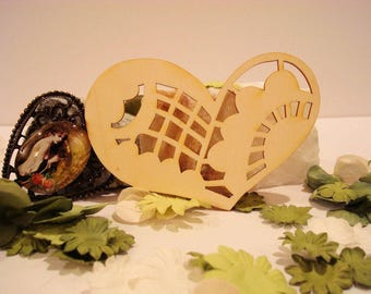 Heart embellishment for your creations wooden 1919