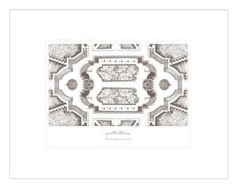 Antique French Garden Plan 3 Horizontal In Sepia & Navy Blue Archival Print