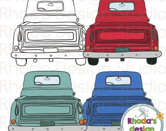 Retro Vintage Pickup Truck Rear End Aqua, Blue, and Red Stamp Digital Clip Art