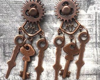 Steampunk Gear Earrings, Steampunk Key Earrings, Steampunk Filigree Earrings, Victorian Earrings, Steampunk Earrings,
