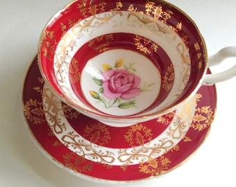 Crimson Pink Rose Royal Grafton Tea Cup and Saucer, Tea Set, Teacup and Saucer, Antique Teacups, Tea Cups and Saucers, Red Cups, Tea Sets