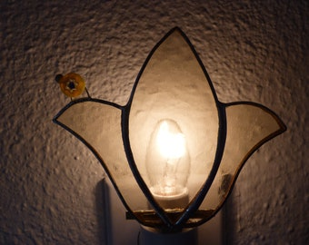 Stained Glass Night Light, Yellow Flower with Ladybug, Handmade Kitchen Bedroom Bathroom Decor, Birthday Anniversary Gift For Womans Women
