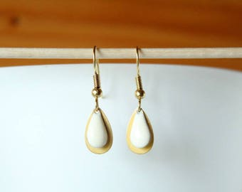 Sequin drop and gold earrings white