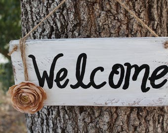 Rustic Welcome sign Front door sign Welcome decor Housewarming gifts  wood signs Welcome signs Rustic wall decor
