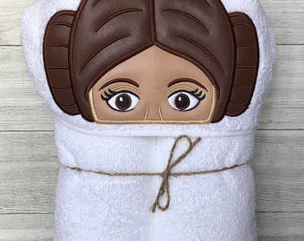 Hooded Towel, Princess Leia Hooded Towel, Princess Leia Bath Towel, Bath, Bathroom, Princess Leia Towel, Valentines day gift