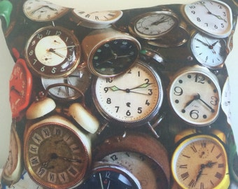 Cushion cover with old clocks digital print