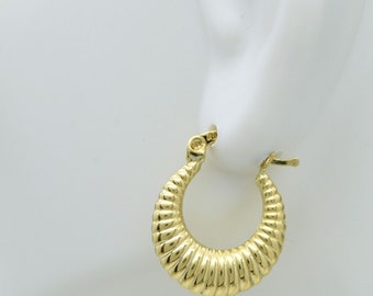 REAL 10K Yellow Gold hoop graduating Scalloped Earrings 20mm