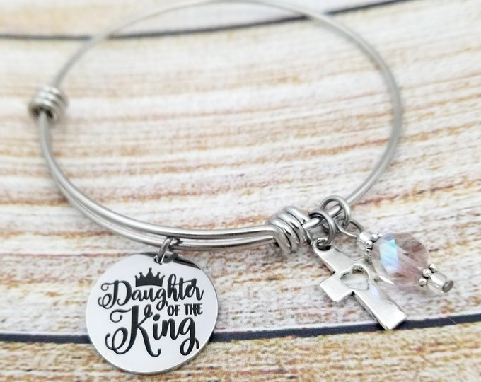 Daughter of the king Customizable Expandable Bangle Charm Bracelet, religion, inspirational, spiritual, biblical, stainless steel