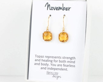 November Birthstone Topaz Gold Earrings, Topaz Gold Square Earrings, November Birthday Gift, Gold Earrings, Birthstone Jewelry #807