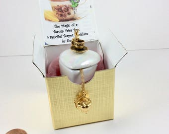 Teacup Fairy Box & Teapot Necklace with gift box