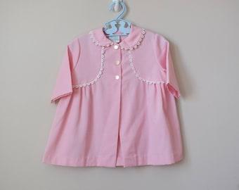 Vintage Girls Jacket, Size 2T / Vintage 1970s Pink Lightweight Toddler Jacket Lace Trim / Vintage Clothing / Vintage Girls Clothing