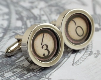 Vintage Typewriter 30th Birthday Monogrammed Cufflinks Steampunk Style