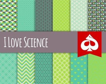 I Love Science Digital Paper Pattern Clipart