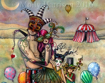 Ten of Cups - Original Watercolor and Mixed Media Painting by Molly Harrison - Published Art 78 Tarot Carnival Project