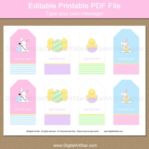 Easter tags easter gift tags easter bunny tags kids easter tags easter gift tags easter bunny tags kids easter idea printable hang tags editable tags instant download easter party negle Images