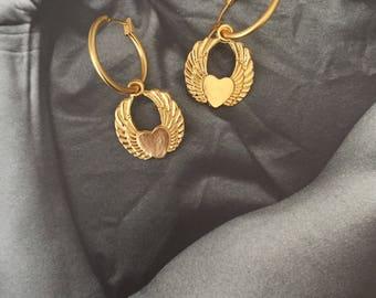 Winged Heart Earrings , Gold heart hoop earrings , flying heart , rocker jewelry