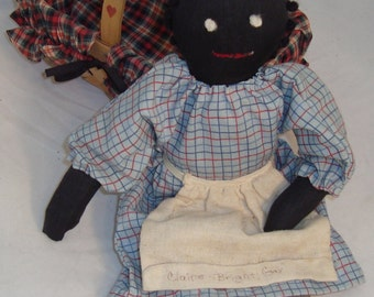 Primitive Black Americana Cloth Doll in Plaid-Lined Stenciled Basket
