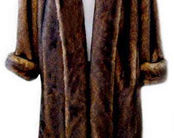 Vintage Faux Fur in Brown with Full Length Lapel Front by Dennis Basso - Fits Size XSmall to Small