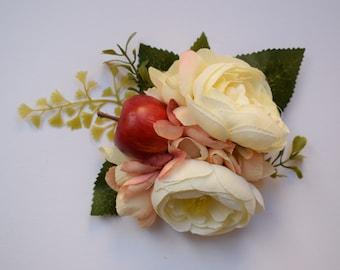 Vintage hair flower, hair clip, hair flower, pin up hair flower, bridal, ranunculus, apple blossom, fascinator, lavender, boho, wedding hair