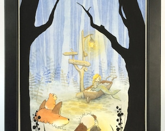 Watercolor Children's Illustration. Hamster and Fox meet a Mermaid in the middle of a dark forest.