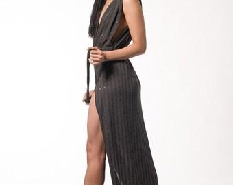 Dark Grey Jersey/Sequins Evening Dress UK8/10