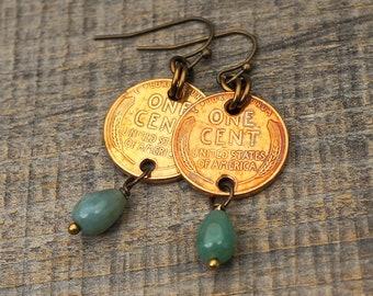 Green penny earrings, fancy jasper beads, wheatie pennies, brass