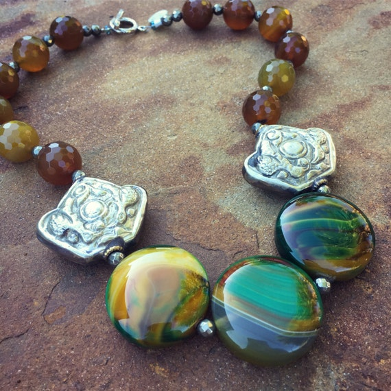 Agate and Nepalese Silver Boho Statement Necklace and Earring Set