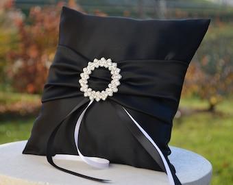 Black Ring Bearer Pillow, Wedding Pillow, Crystal Rhinestone Accent Ring Bearer, Black Ring Pillow.