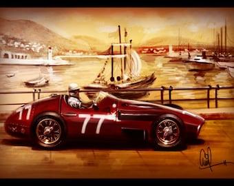 1957 Maserati Vintage Grand Prix Car Monaco Race Track 12X18 Metallic Print